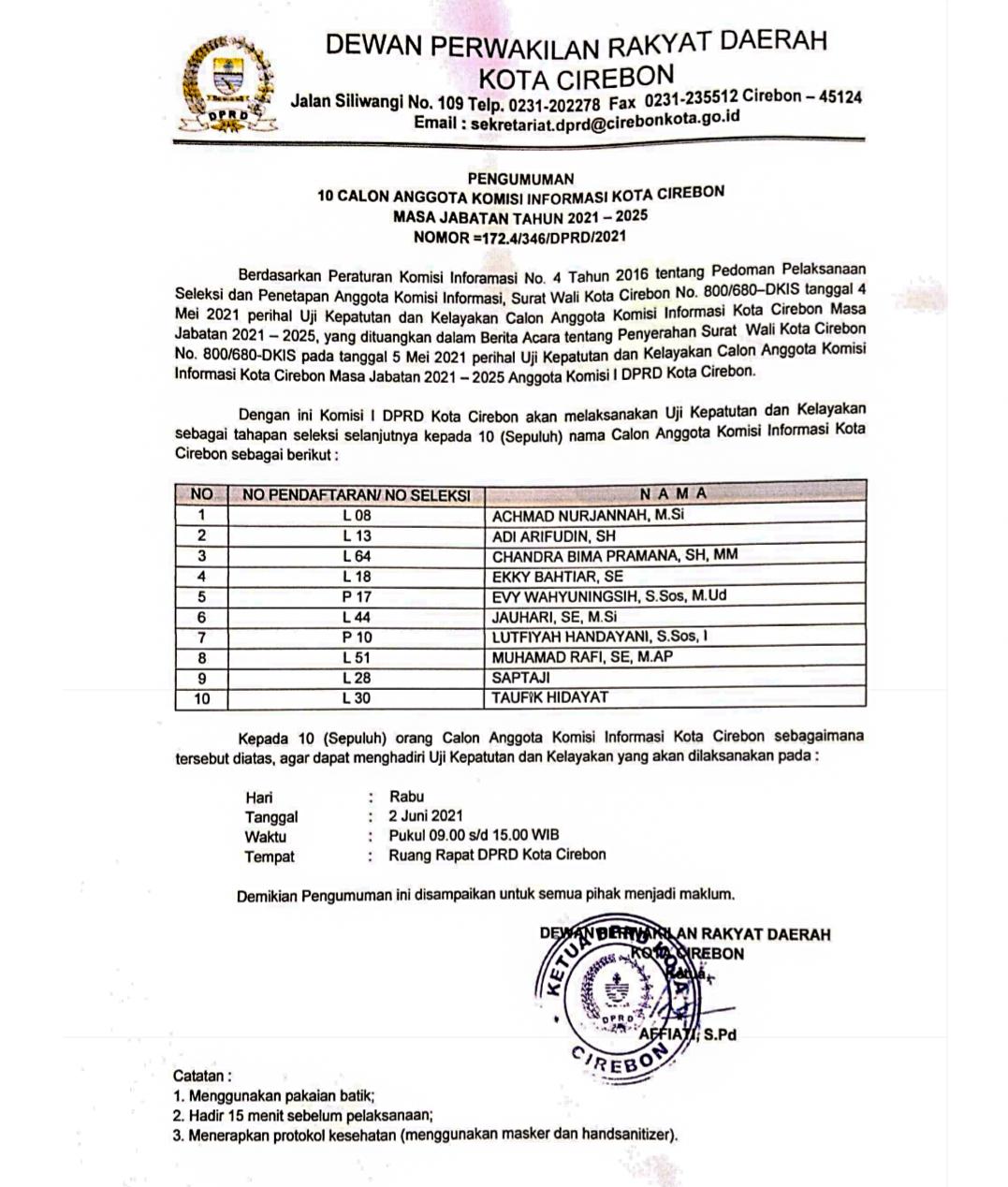 Pengumuman Komisi Informasi